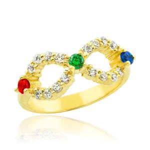 Gold Infinity CZ Ring with Interchangable Birthstones