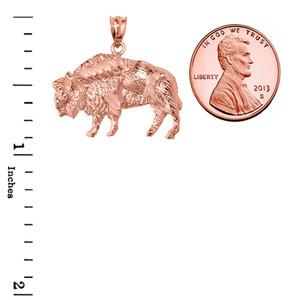 Rose Gold Diamond Cut Bison Pendant Necklace