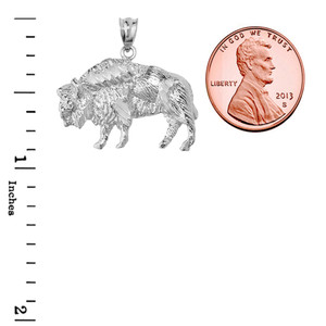 Sterling Silver Diamond Cut Bison Pendant