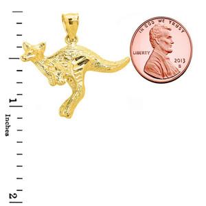 Jumping Kangaroo Pendant Necklace in Yellow Gold