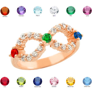 Rose Gold Infinity CZ Ring with Interchangable Birthstones
