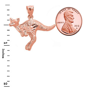 Jumping Kangaroo Pendant Necklace in Rose Gold