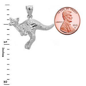 Sterling Silver Diamond Cut Kangaroo Pendant