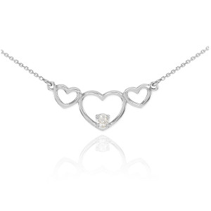 14K White Gold Triple Heart Necklace with CZ