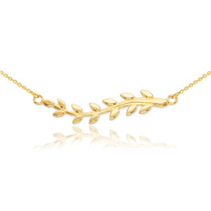 14K Gold Olive Branch Necklace