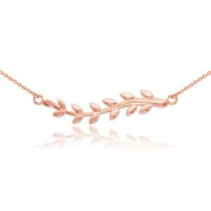 14K Rose Gold Olive Branch Necklace