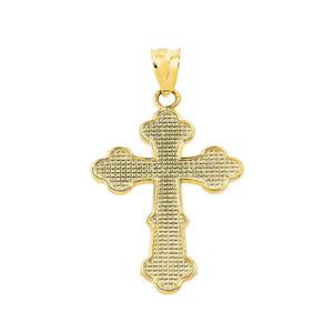 Solid Yellow Gold Orthodox Cross Charm Pendant