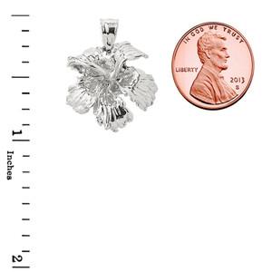 Sterling Silver Caribbean Hibiscus (Malvaceae) Flower Charm Pendant