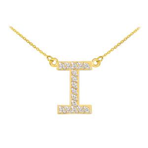 "14k Gold ""I"" Diamond Initial Necklace"