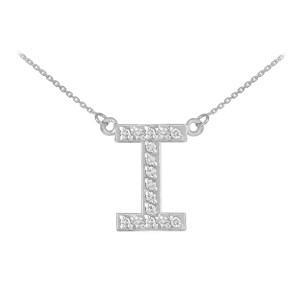 "14k White Gold ""I"" Diamond Initial Necklace"