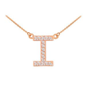"14k Rose Gold ""I"" Diamond Initial Necklace"