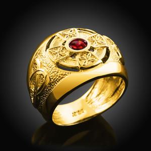 Men's Solid Gold Celtic Birthstone Ring