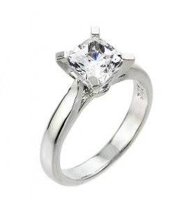 Sterling Silver Princess Cut CZ Solitaire Engagement Ring