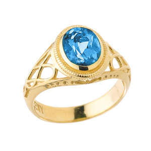 Yellow Gold Celtic Lady's CZ Birthstone Ring