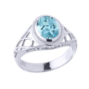 White Gold Celtic Lady's CZ Birthstone Ring