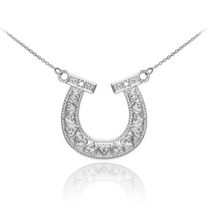 14k White Gold Horseshoe Necklace with Diamonds