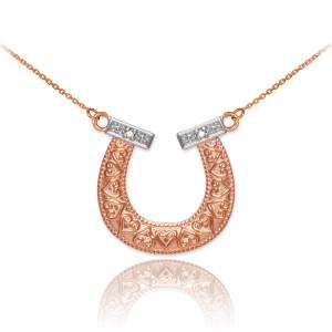 14k Two-Tone Rose Gold Diamond Horseshoe Necklace
