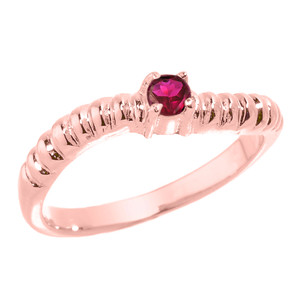 Rose Gold Curved Stackable CZ Birthstone Ring