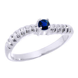 Sterling Silver Curved Stackable CZ Birthstone Ring