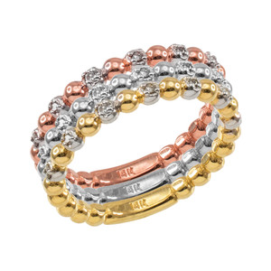 Two-Tone Rose Gold Ball Chain Stackable Ring with Diamonds
