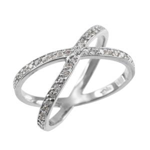 White Gold Diamond Orbit Ring (Size 7.5)
