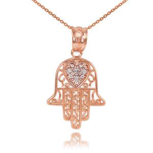Rose Gold Diamond Filigree Hamsa Pendant Necklace