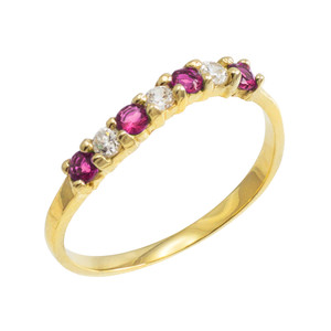 Gold Wavy Stackable CZ Alexandrite Ring