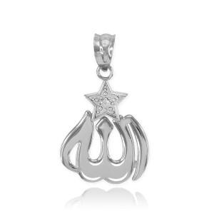 White Gold Diamond Allah Star Pendant Necklace