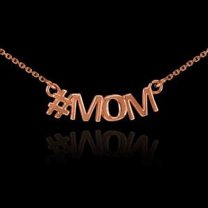 14k Rose Gold #MOM Necklace