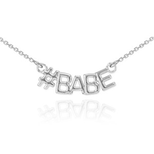 Steling Silver #BABE Necklace