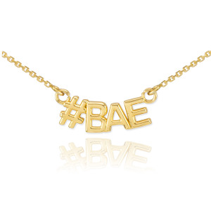14k Gold #BAE Necklace