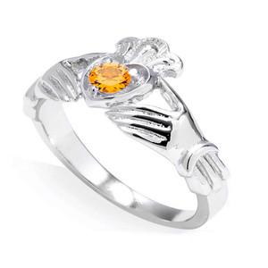 White Gold Cubic Zirconia Claddagh Birthstone Ring