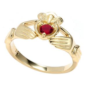 Yellow Gold Cubic Zirconia Claddagh Birthstone Ring