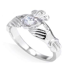 Sterling Silver Cubic Zirconia Claddagh Birthstone Ring
