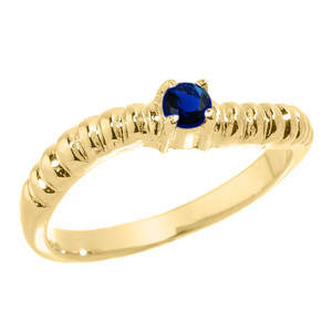 Yellow Gold Curved CZ Birthstone Knuckle Ring