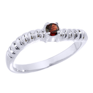White Gold Curved CZ Birthstone Knuckle Ring