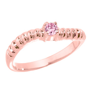 Rose Gold Curved CZ Birthstone Knuckle Ring