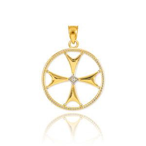 Gold Diamond Maltese Cross Pendant Necklace
