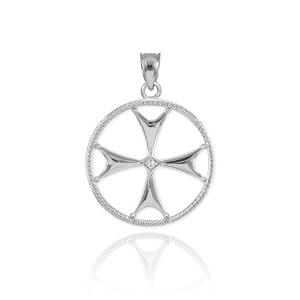 White Gold Diamond Maltese Cross Pendant Necklace