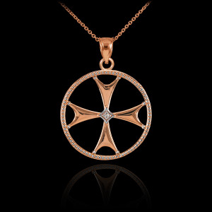 Rose Gold Diamond Maltese Cross Pendant Necklace
