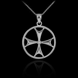 Sterling Silver CZ Maltese Cross Pendant Necklace