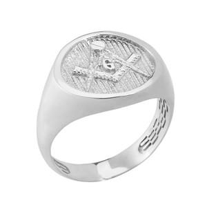 Solid White Gold Masonic Men's Ring