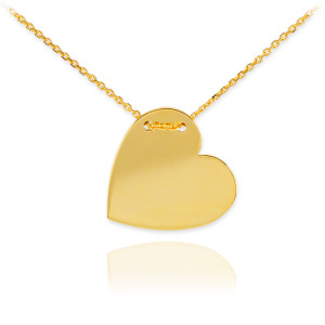 14K Gold Engravable Heart Necklace
