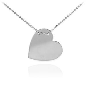 14K White Gold Engravable Heart Necklace