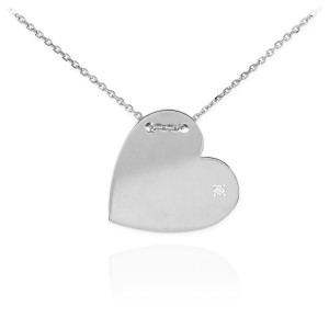 Sterling Silver Engravable Heart CZ Necklace