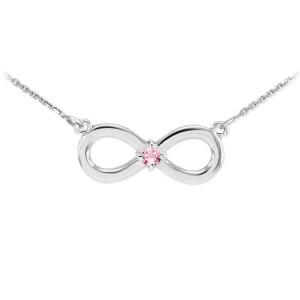 14K White Gold Infinity CZ Birthstone Necklace