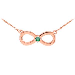 14k Rose Gold Infinity CZ Birthstone Necklace
