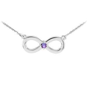 Sterling Silver Infinity CZ Birthstone Necklace
