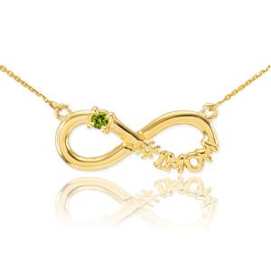 14K Gold Infinity #1MOM CZ Birthstone Necklace