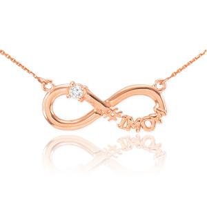 14k Rose Gold Infinity #1MOM CZ Birthstone Necklace
